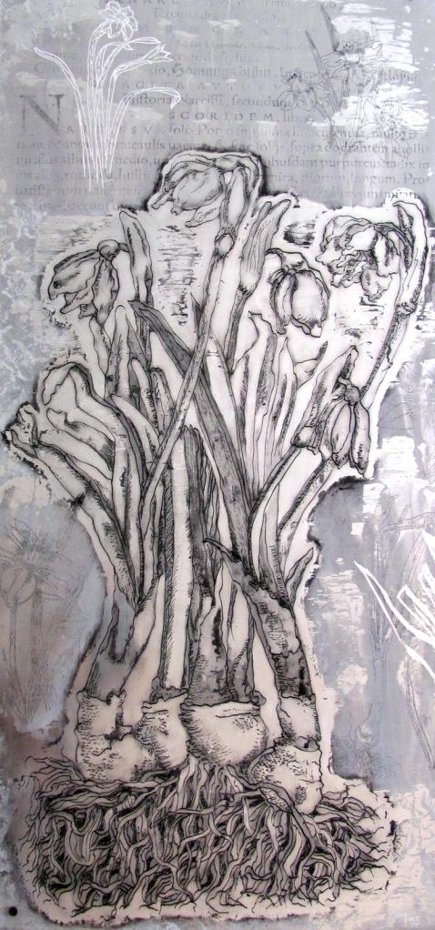 Narcisos, 2014 / 41 x 91cms / técnica mixta sobre placa de aluminio