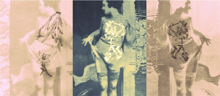 Triple juego, 2014 / gráfica digital, grabado en acrílico y fotografía anónima de 1920